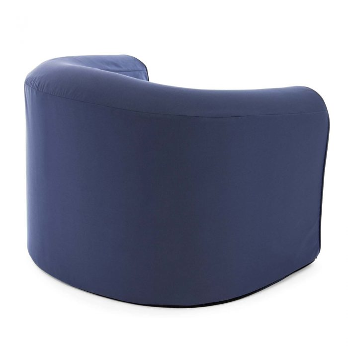 Rear view of the crown blue pop lounge adult armchair foam seat