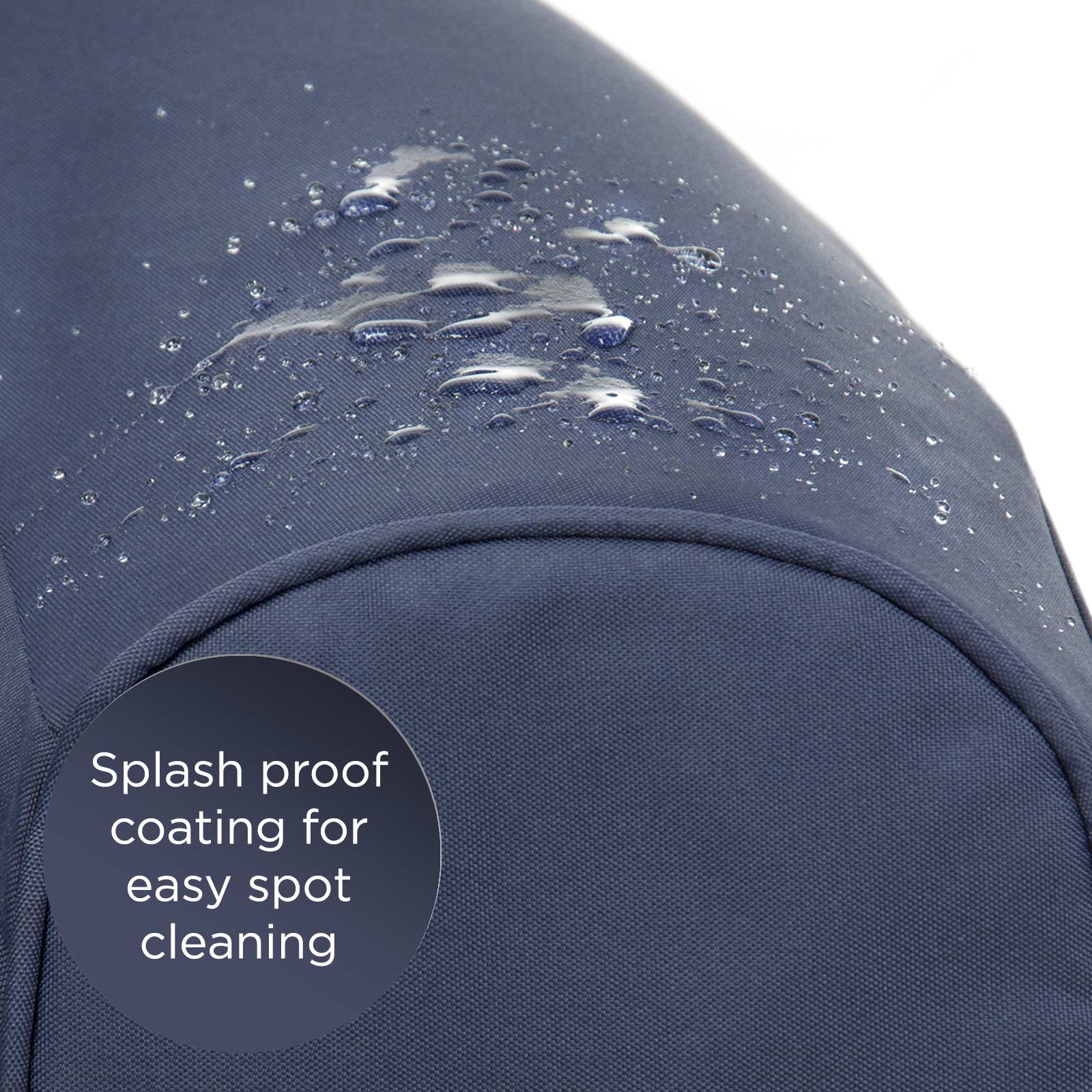 Close up of the splash proof coating on the crown blue adult pop lounge foam armchair