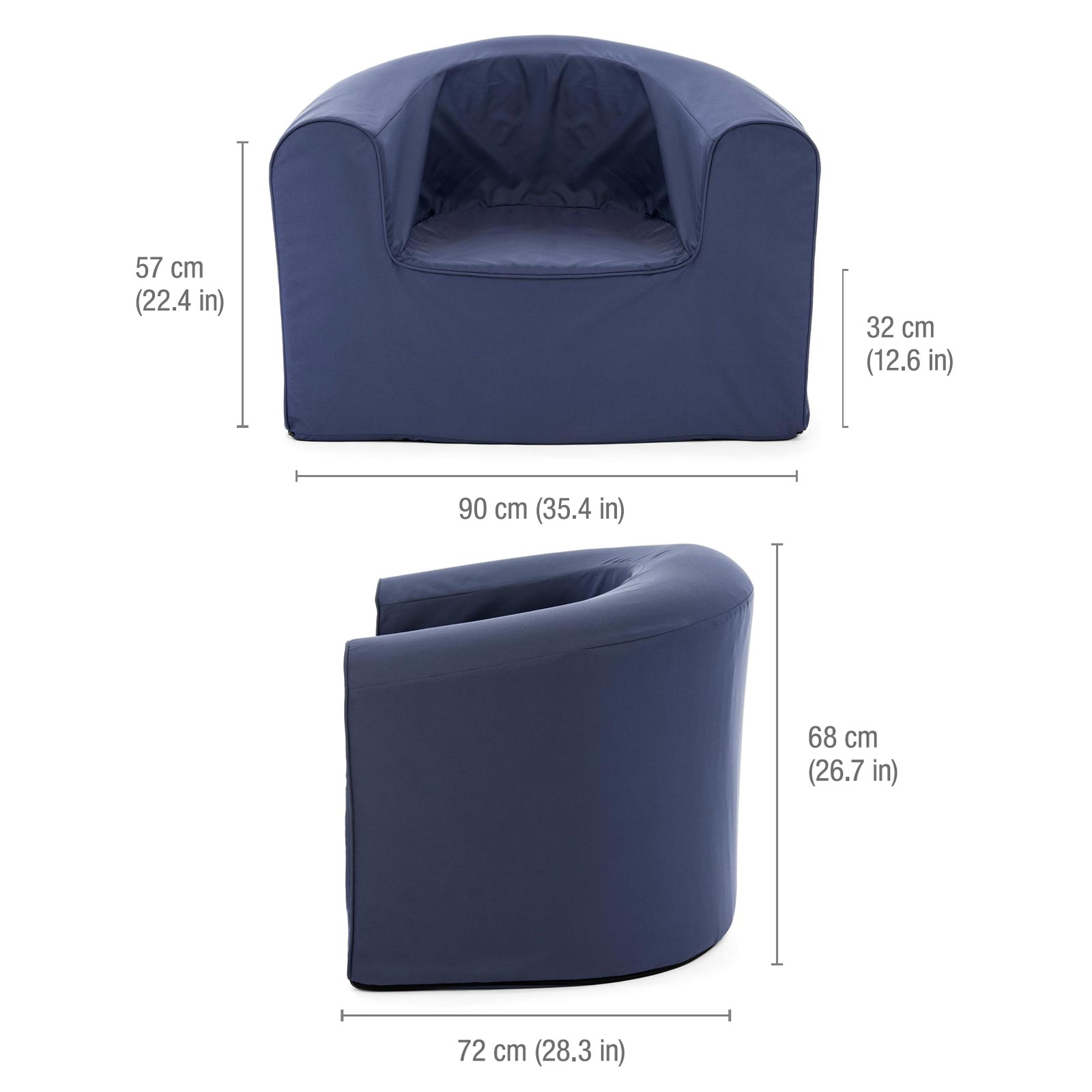 Image shows the dimensions of the adult crown blue pop lounge foam archair