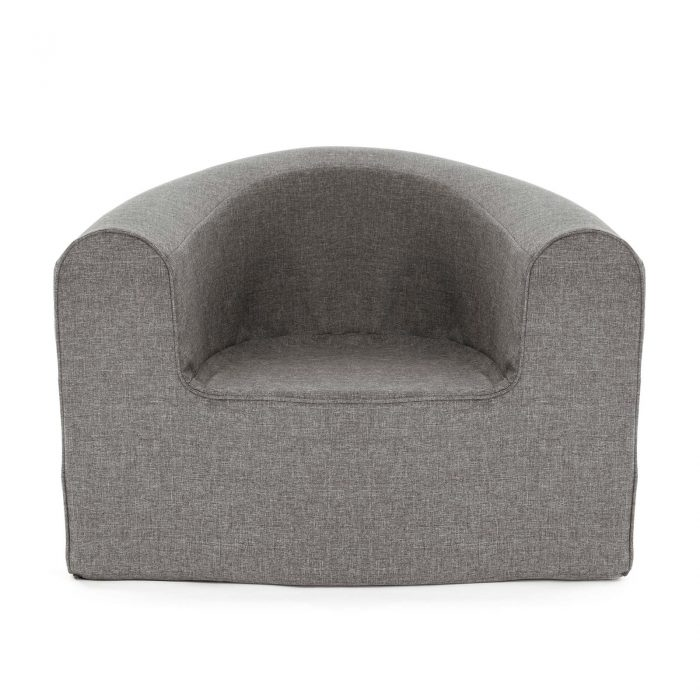 Front view of the pop foam armchair in grey linen look material