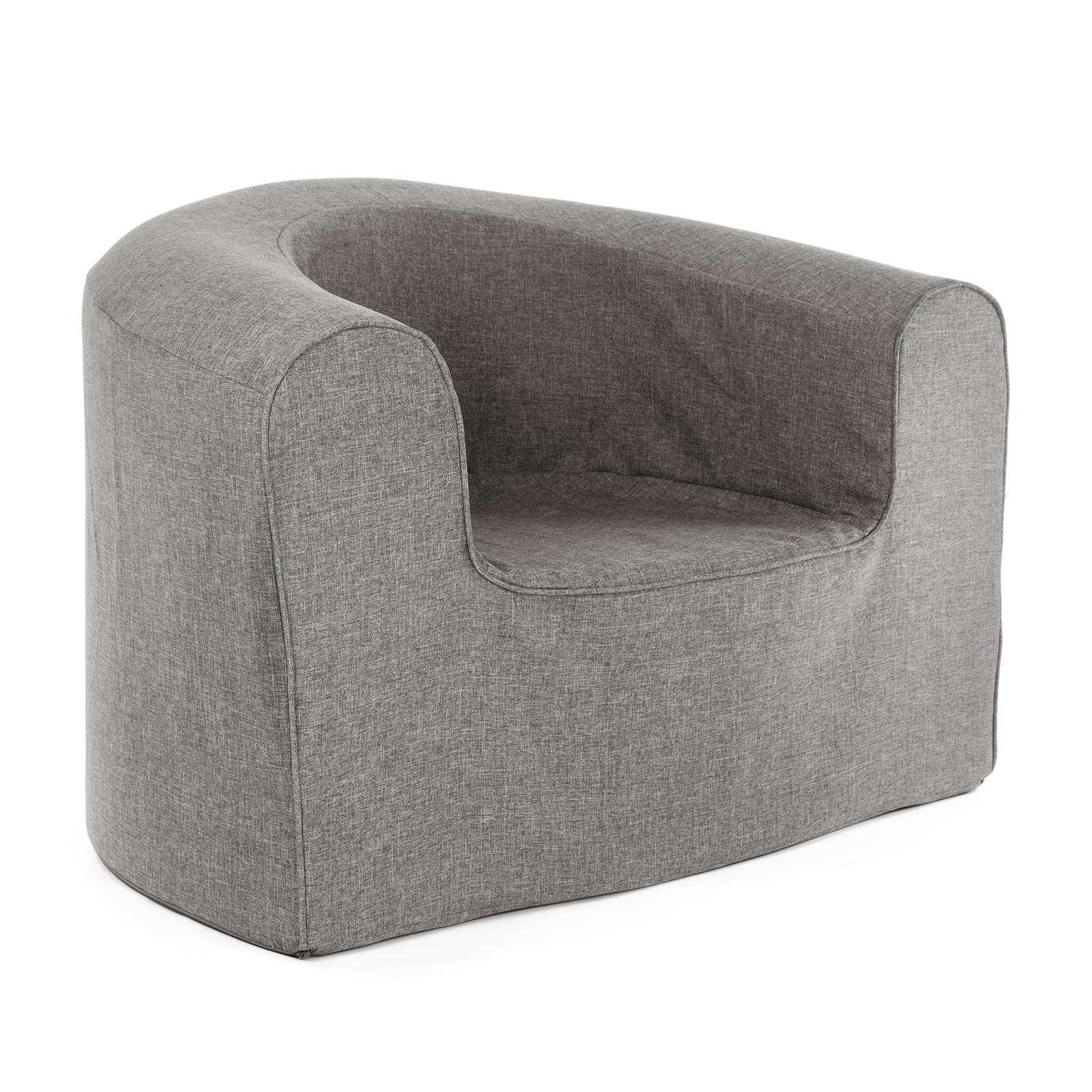 Grey linen look adult pop lounge foam armchair seat