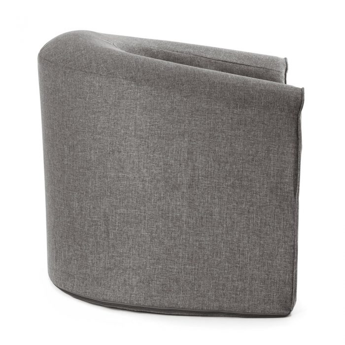 Side view of the pop foam armchair in grey linen look material