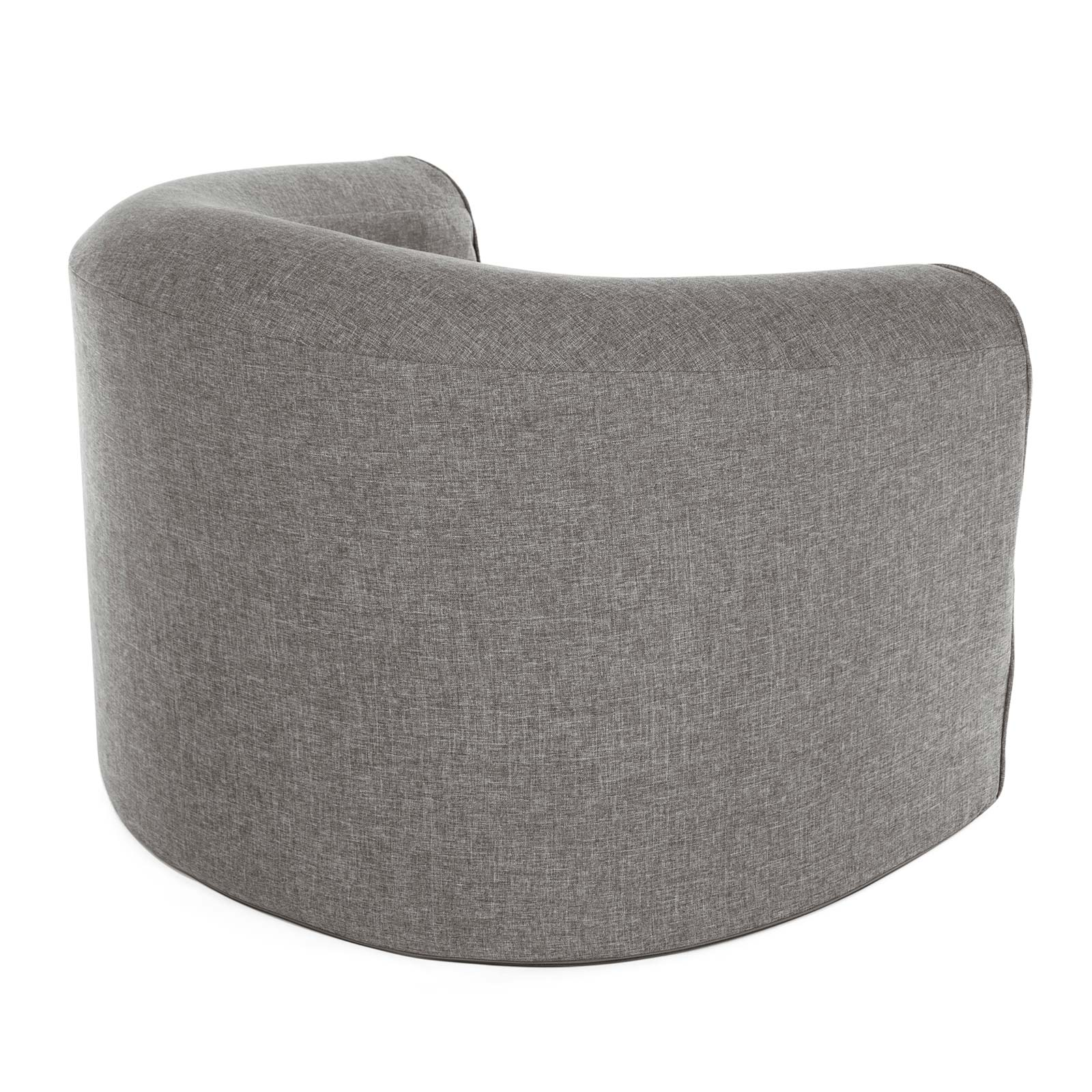 Rear view of the pop lounge foam armchair in grey linen look fabric