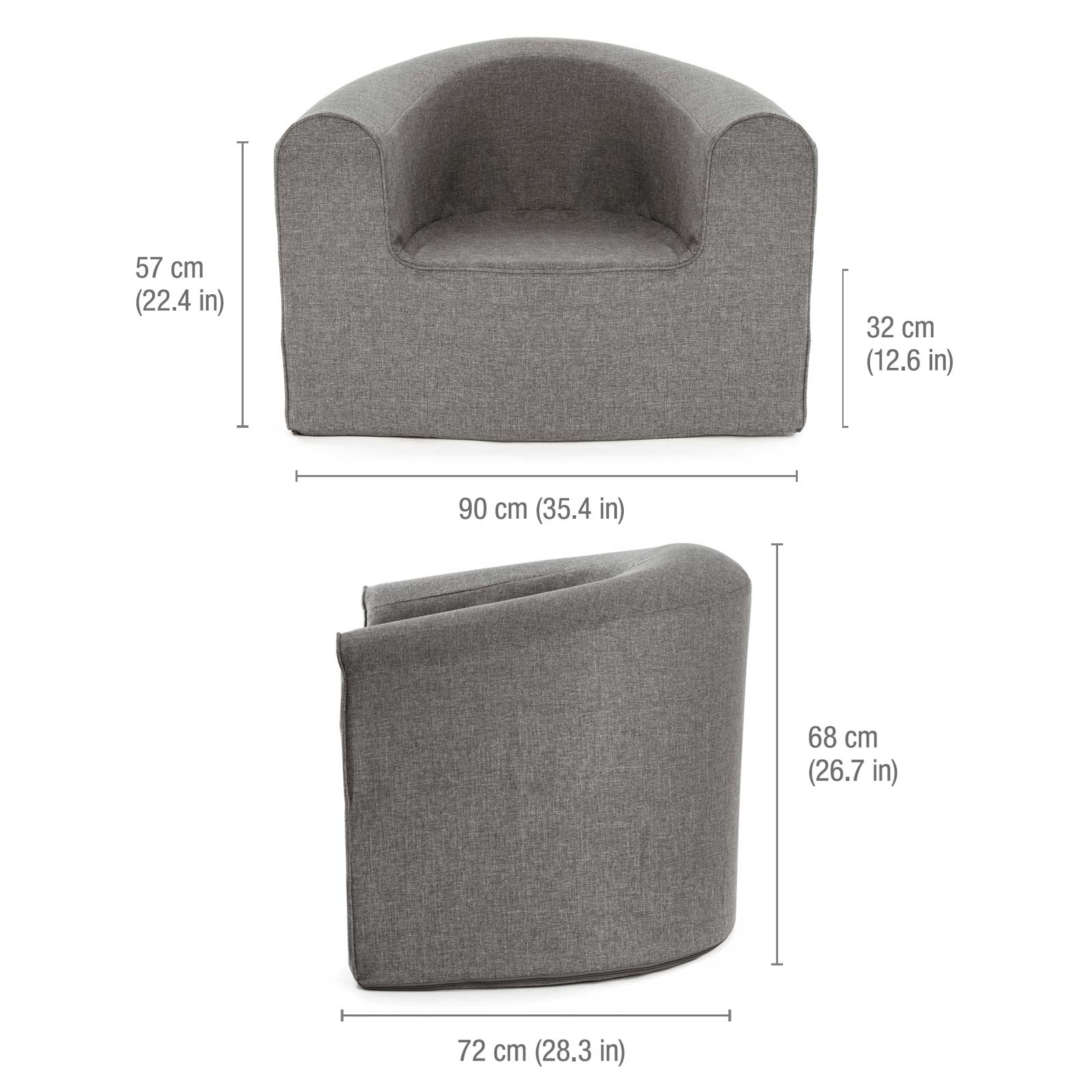 Image shows the dimensions of the pop lounge grey linen look foam armchair