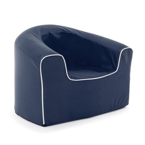 Oblique view of the navy kids pop armchair foam seating