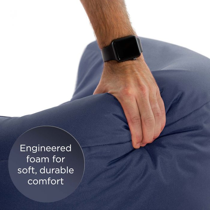 Close up of the soft durable foam used in the kids pop armchair foam seat