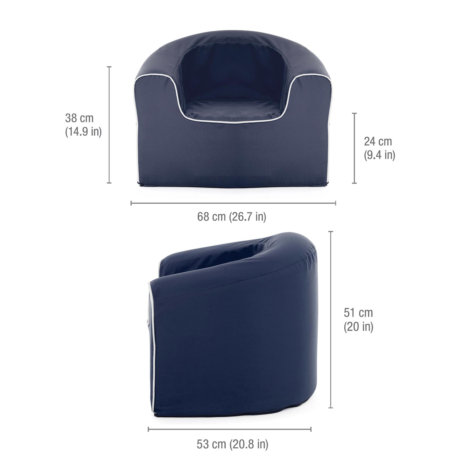 Image shows the dimensions of the kids crown blue pop armchair kids seat