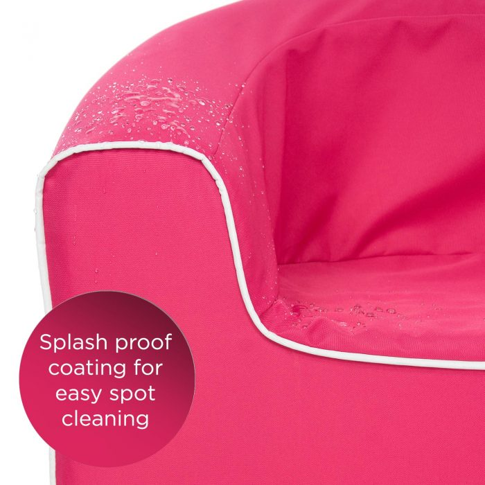 Detail of splash proof coating on the rasberry kids pop armchair seat