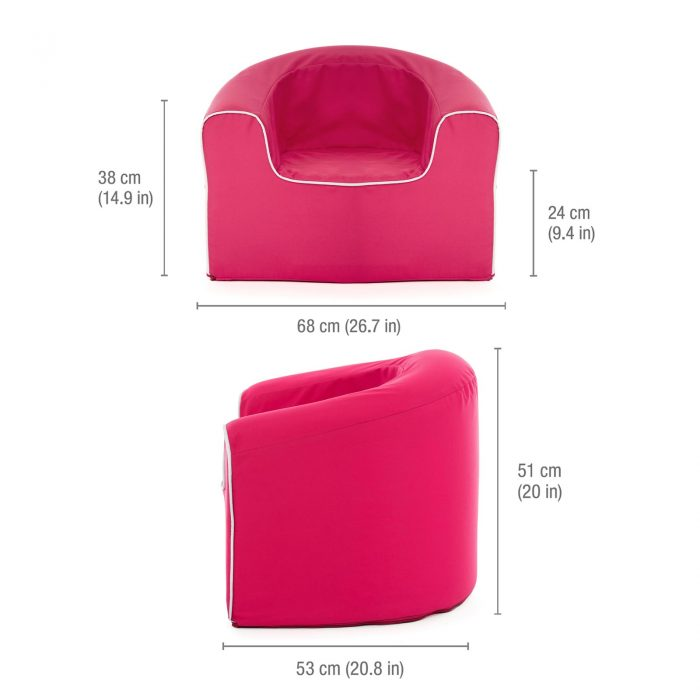 Image shows the dimension of the kids raspberry pop armchair foam chair seat