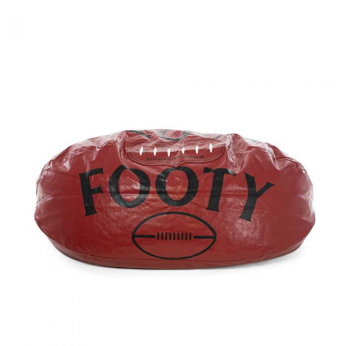 footy novelty bean bag, red showing printed football laces