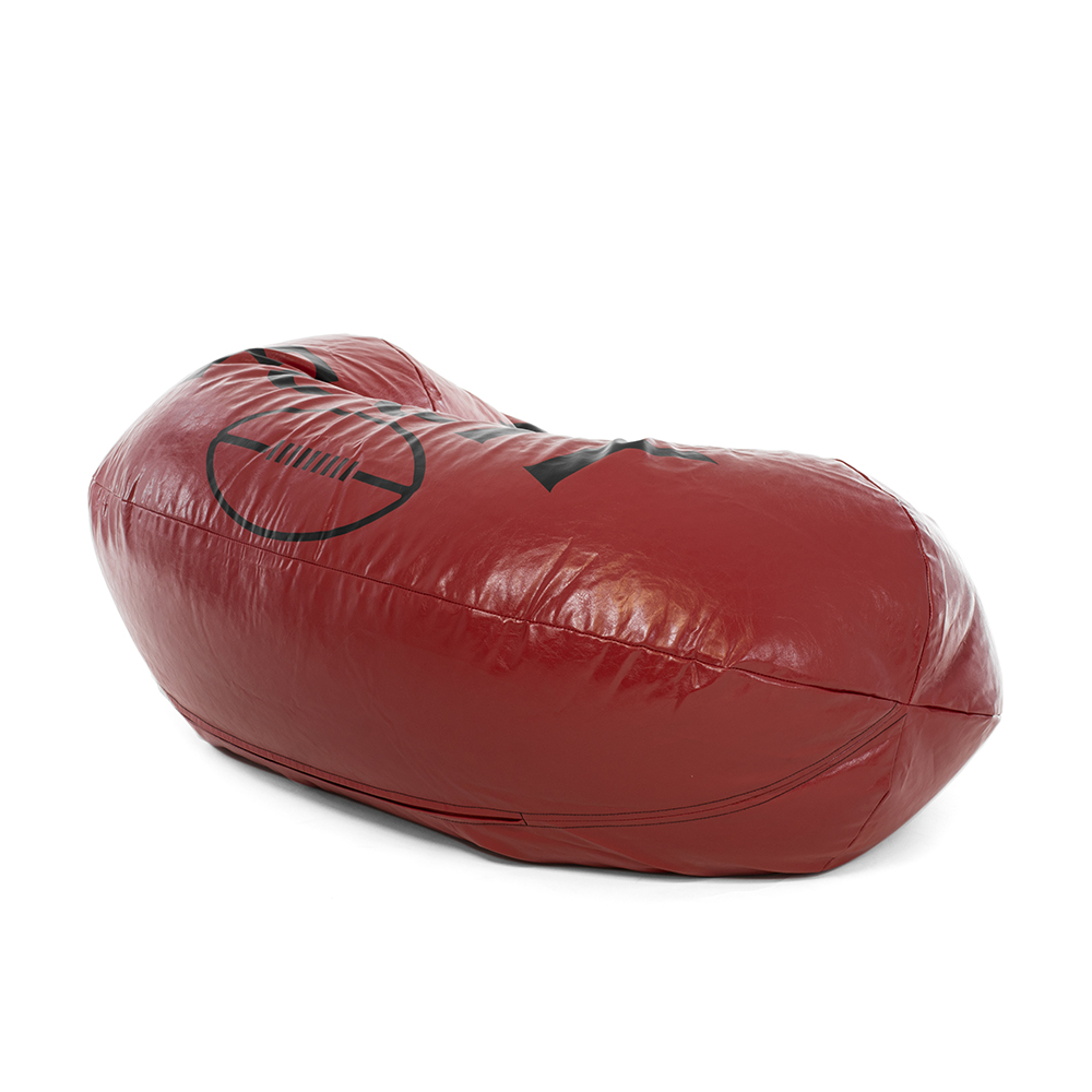 Back view of the large oval football shaped bean bag