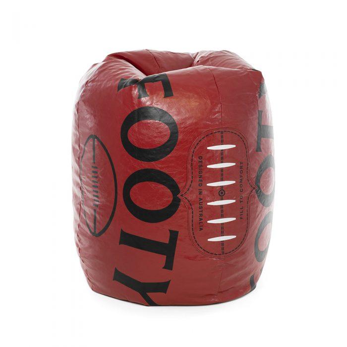 Large dark red football shaped bean bag