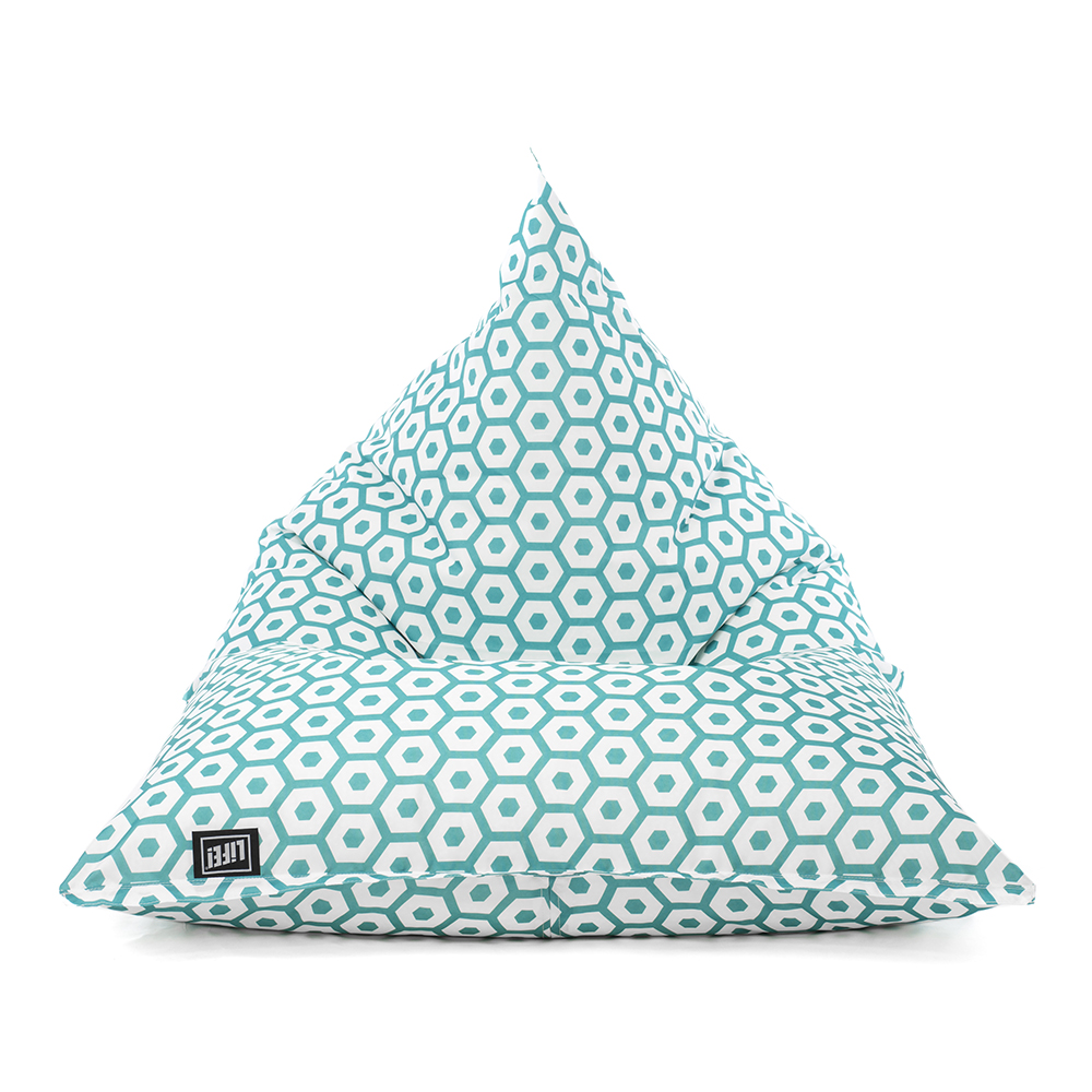 Front view of the sunny boy bean bag in green mint geometric print pattern