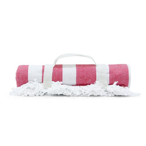 Rolled red stripe beach blanket mat rolled showing handle and fringe