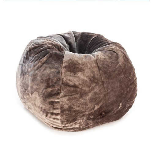 Chocolate brown faux fur tear drop bean bag