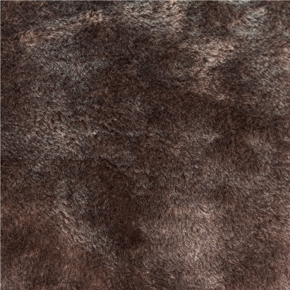 Close up of the chocolate brown faux fur bean bag material