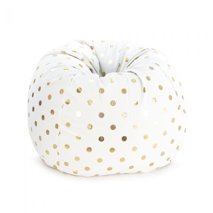 White tear drop shaped bean bag with gold coin metallic print