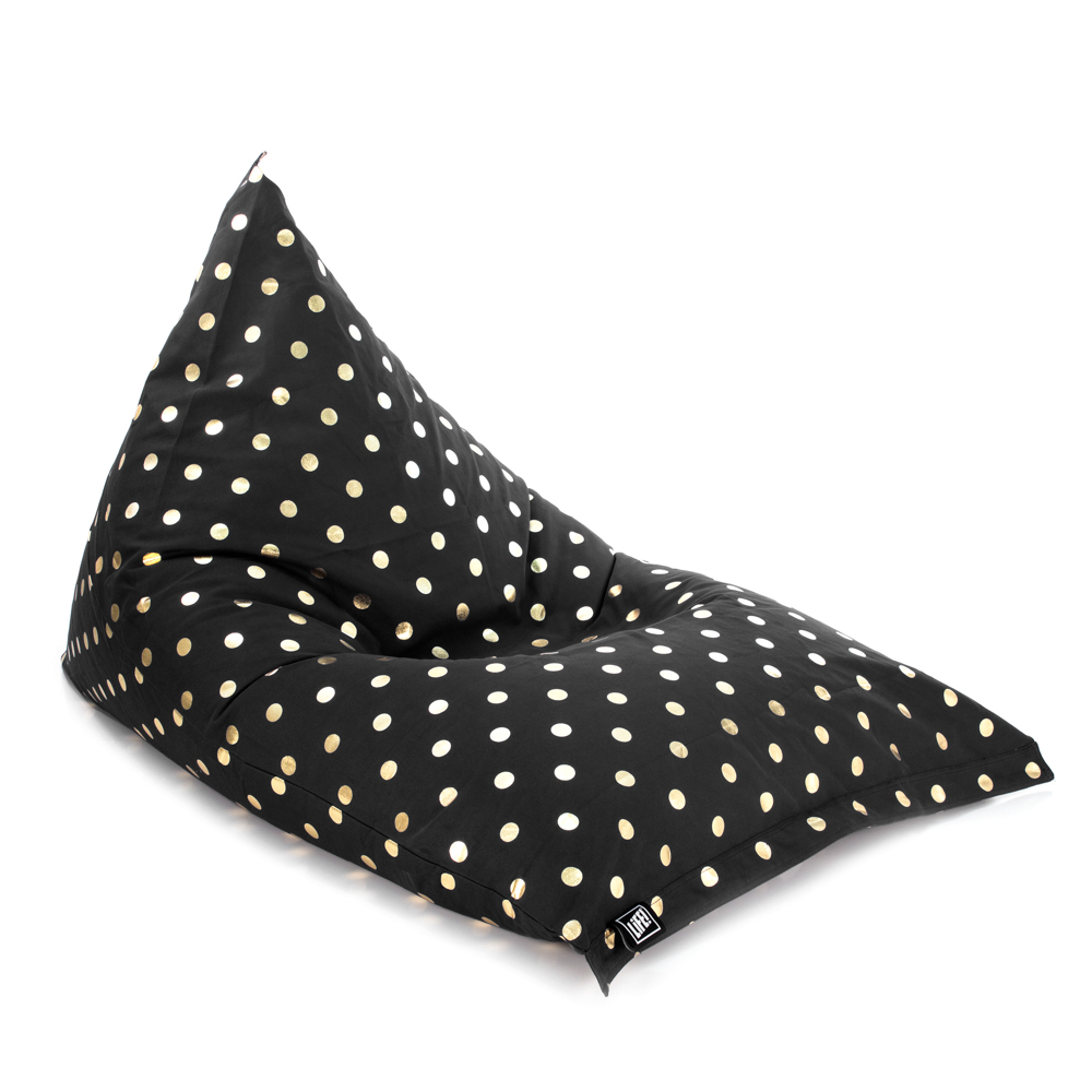 Oblique view of the sunny boy shaped bean bag made with black material and gold coin dot spot print