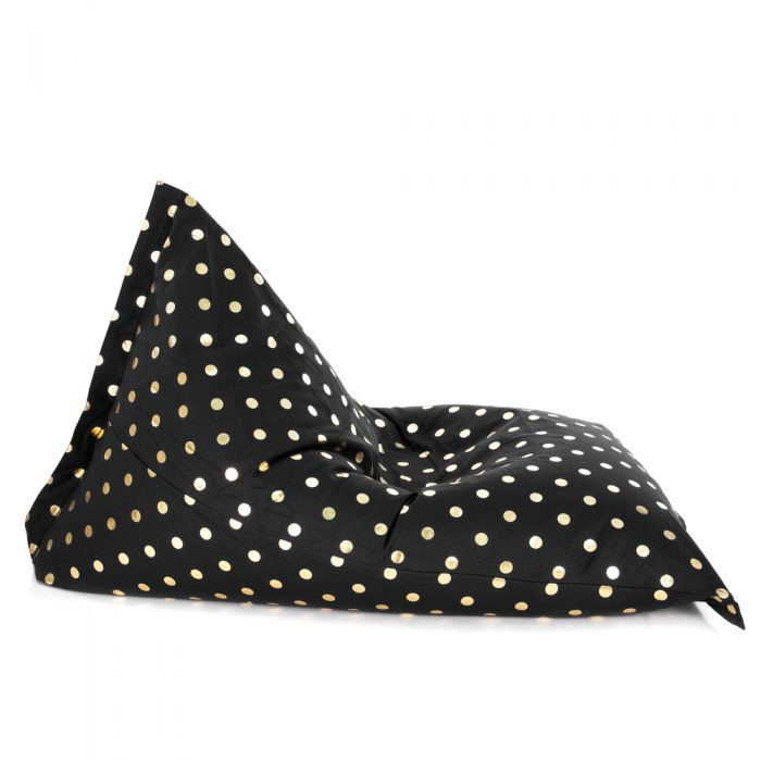 Side view of the sunny boy shaped black bean bag with gold coin print pattern