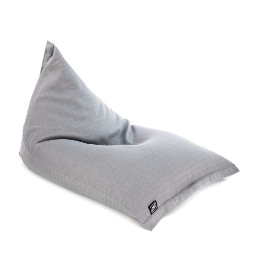 Oblique view of the sunnyboy shaped grey linen look bean bag