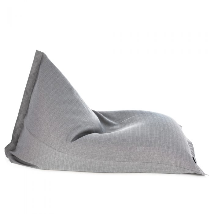 Side view of the grey linen look, sunnyboy shaped bean bag