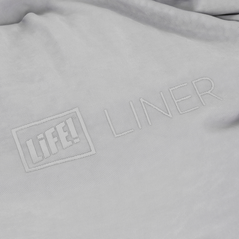 Close up of life logo on the liner