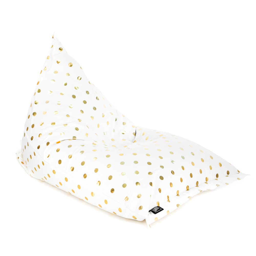 Oblique view of the sunny boy shaped bean bag made with white material and gold coin dot spot print