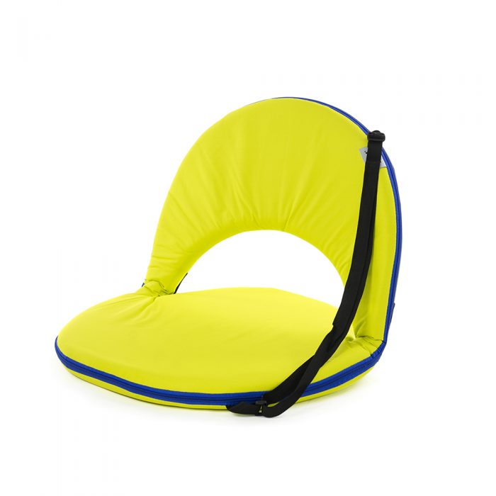 Yellow cushion recliner chair with blue trim showing carry handle for easy transport