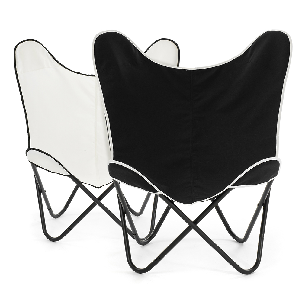 2 butterfly chairs with black cover and white cover