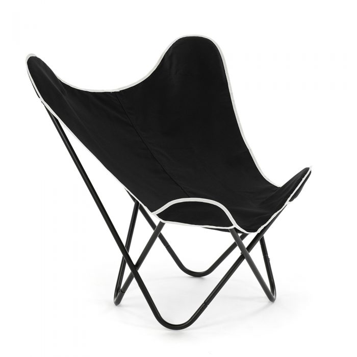 Oblique view of the black butterfly chair showing the swooping curves of the design