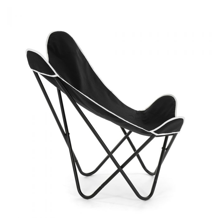 Black butterfly chair from the side showing the design elements