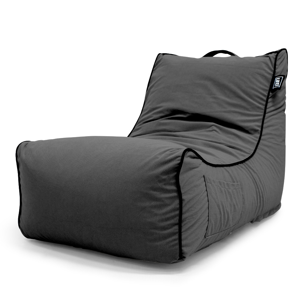 Oblique view of the coastal haven bean bag made from charcoal velour showing the handle, handy storage pocket and contrast black trim