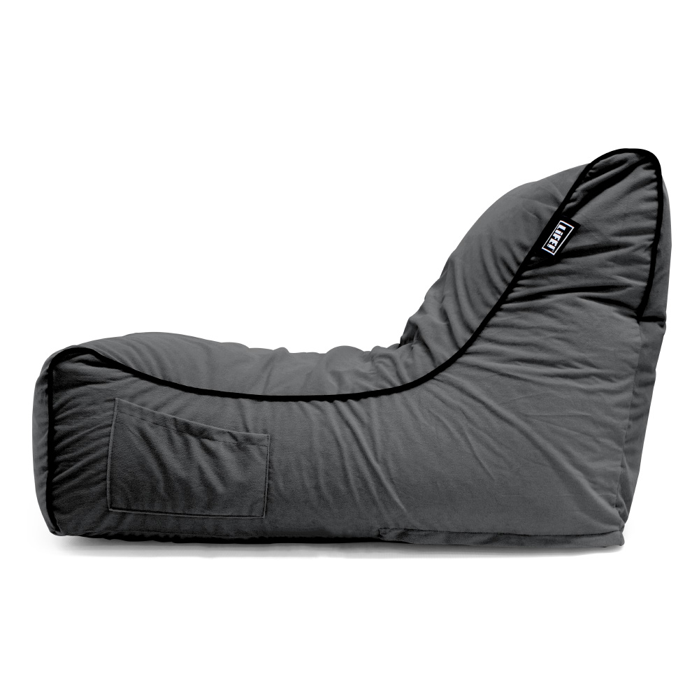 Side view of the charcoal velour coastal haven bean bag showing the handy storage pocket and black contrast piping