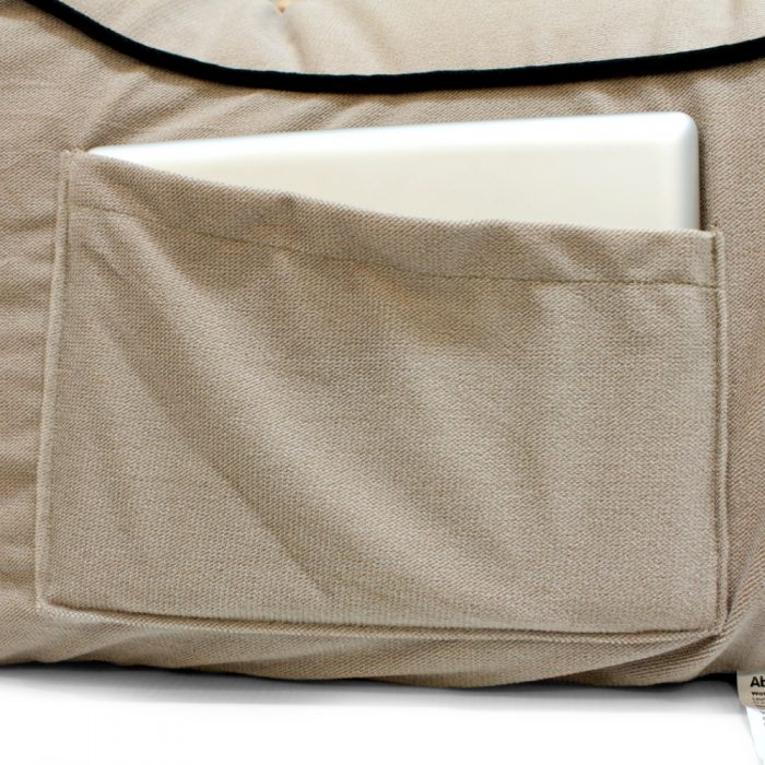 Close up of the coastal pop lounge tan velour fabric pocket