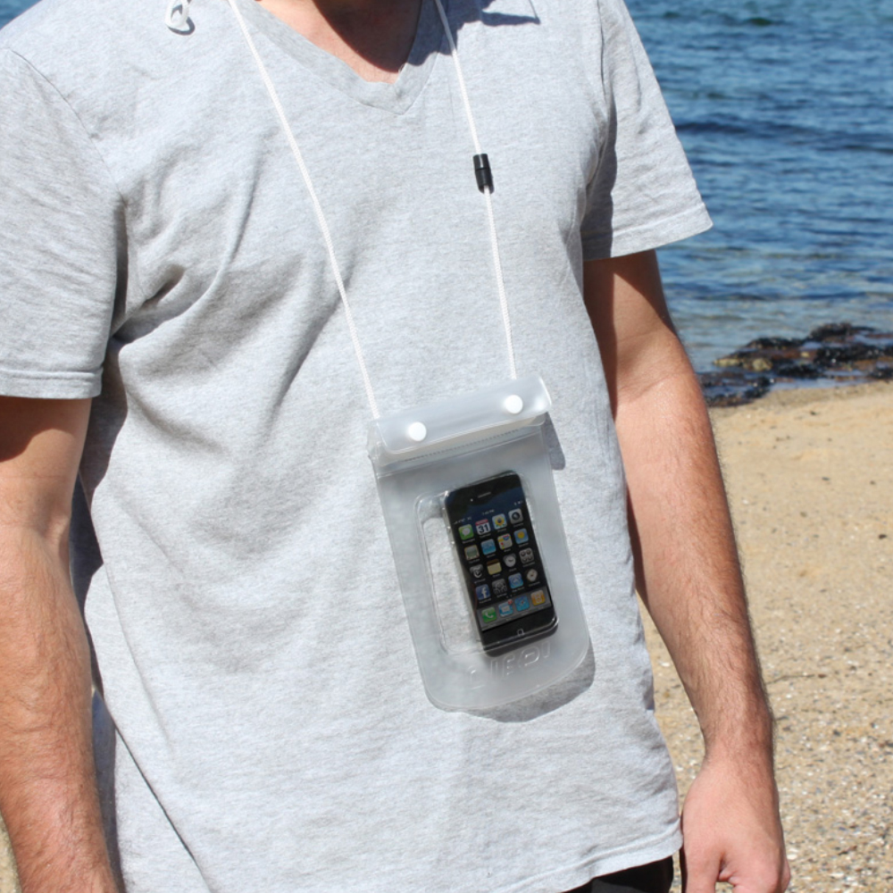 Dryz digital phone protector worn around someones neck showing the lanyard and pocket containing the phone