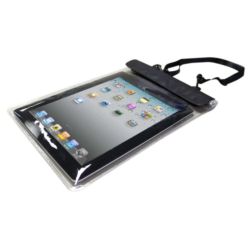 Oblique view of dryz tablet protector showing handle and seal