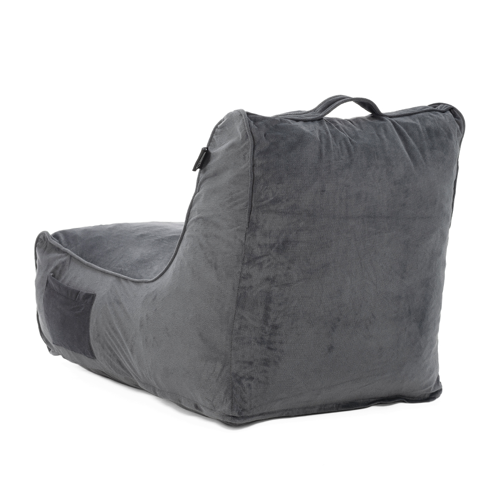Back view of the coastal haven charcoal grey pop foam lounge showing the side pocket and carry handle
