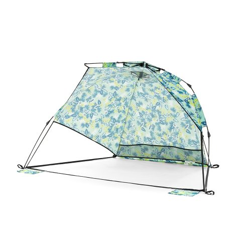 The green tropical print auto ezee sun shelter with mesh storage pockets and central hanging hook