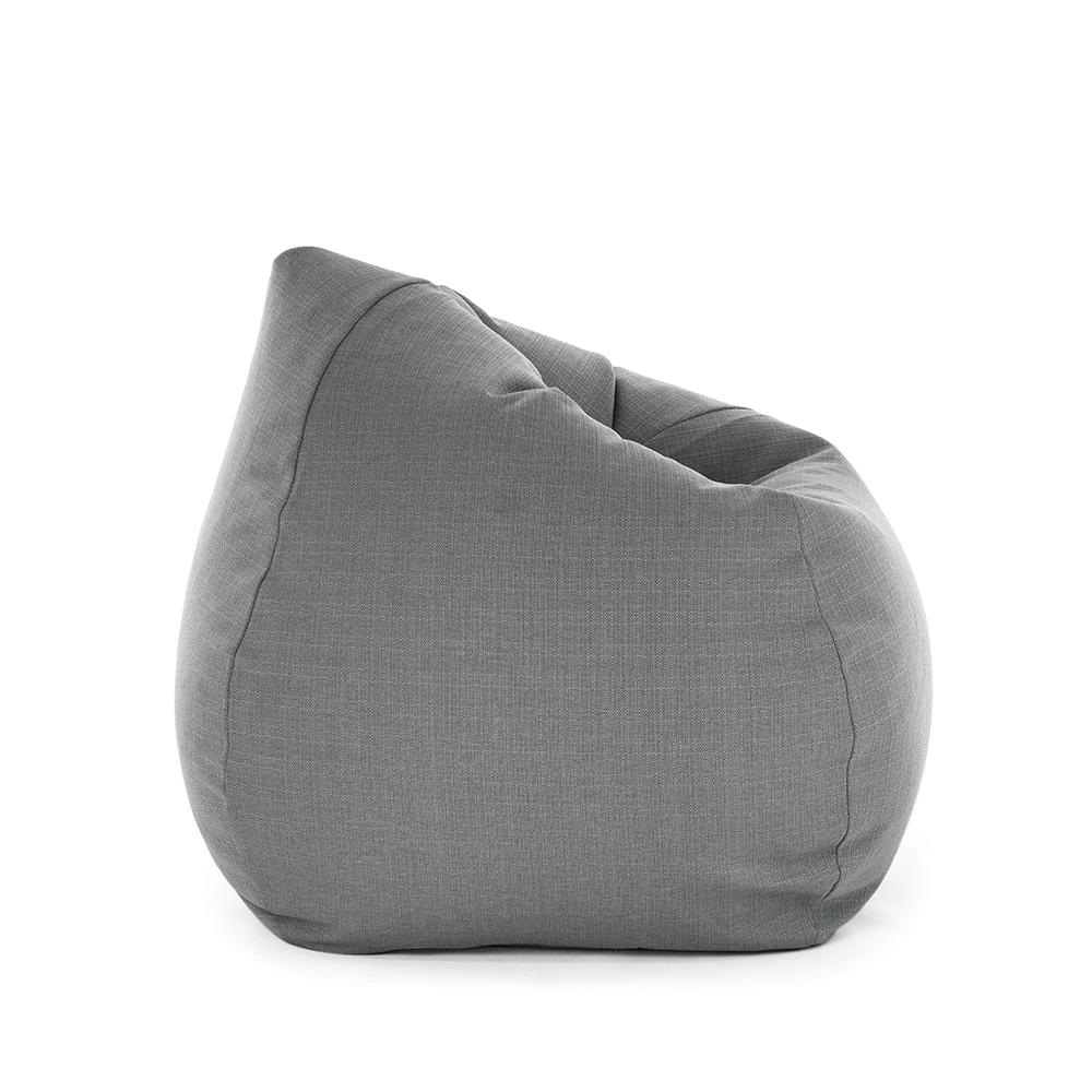 Oblique view of the grey linen look tear drop shaped bean bag