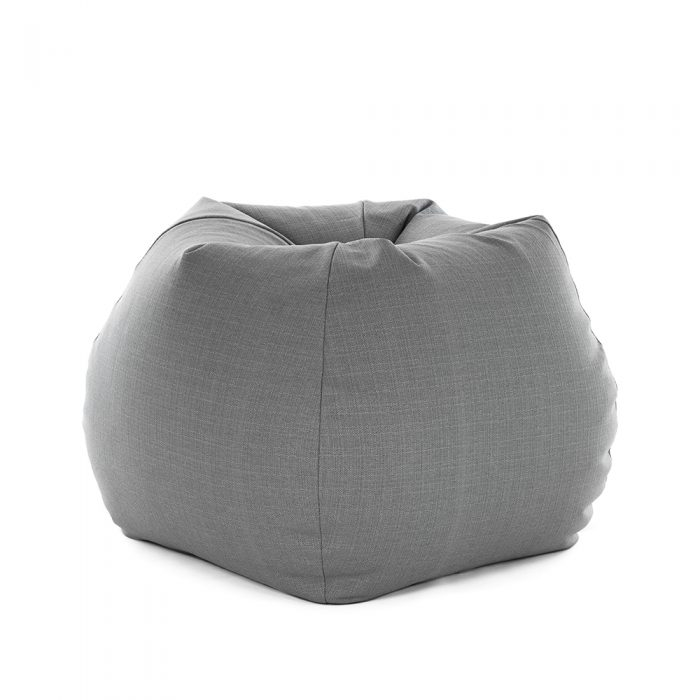 Grey linen look tear drop shaped bean bag