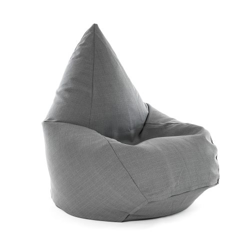Tear drop shaped bean bag in grey linen look material