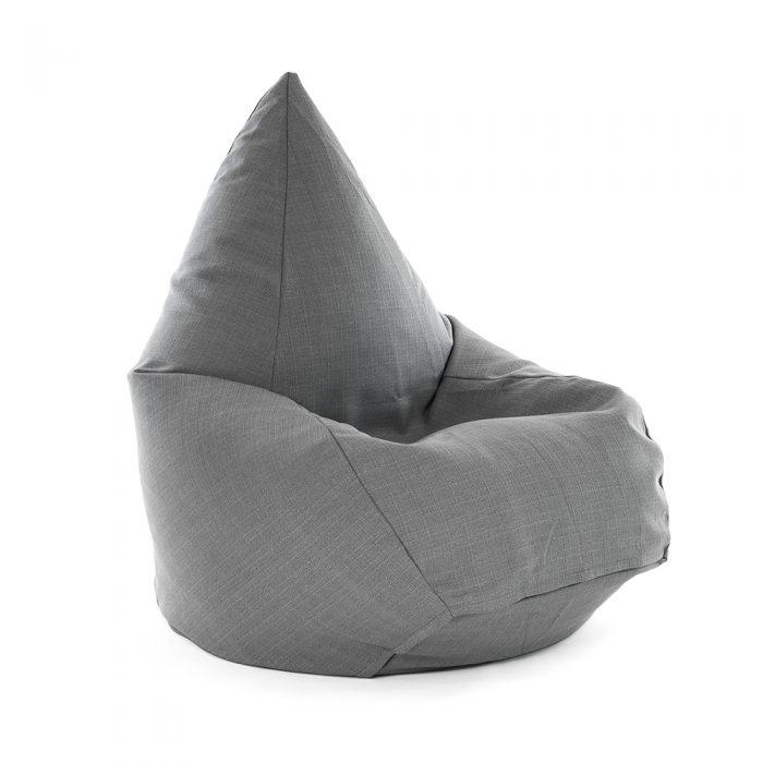 Tear drop shaped bean bag in grey linen look material