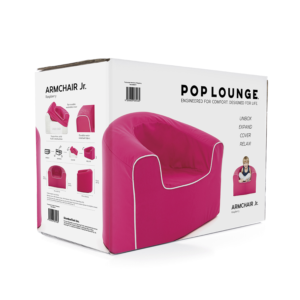 Picture of the box the pop lounge kids foam armchair arrives in