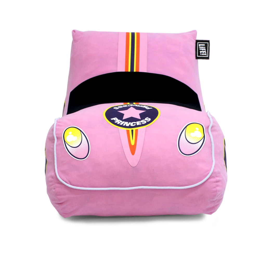 Front view of the pink foam pop lounge showing the headlights and car shape