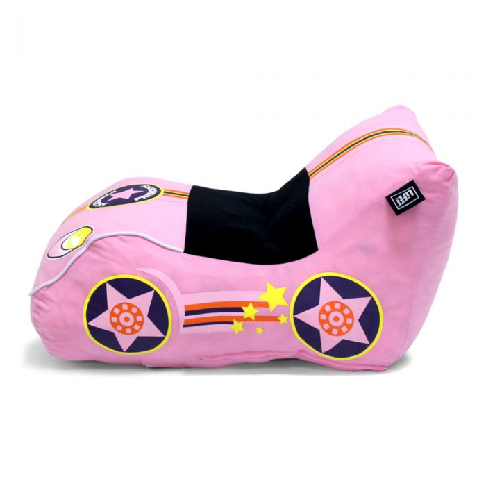 Side view of the pink foam pop lounge showing the wheels and the car shape