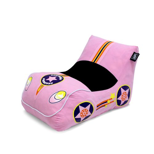 Oblique view of the pink pop lounge racer showing the headlights, wheels and car shape