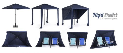 Myri 3 in 1 sun shelter Blue Gazebo Umbrella Cabana