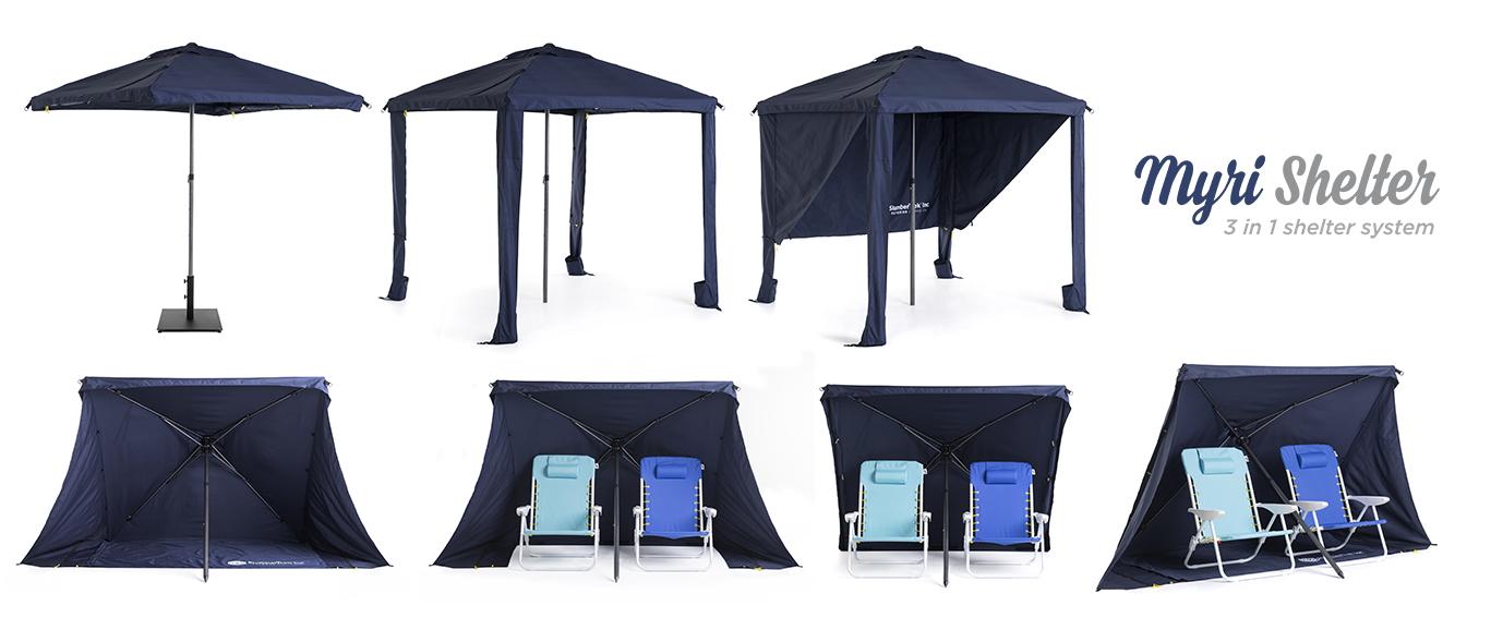 Myri 3 in 1 sun shelter Blue Gazebo Umbrella Cabana