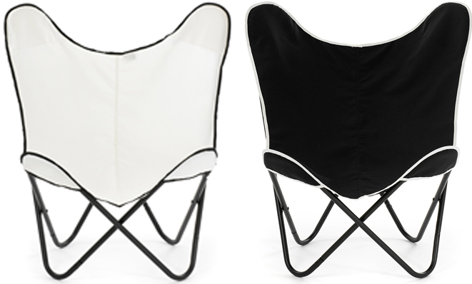 Two butterfly indoor outdoor chairs. White cover with black trim and black cover with white trim