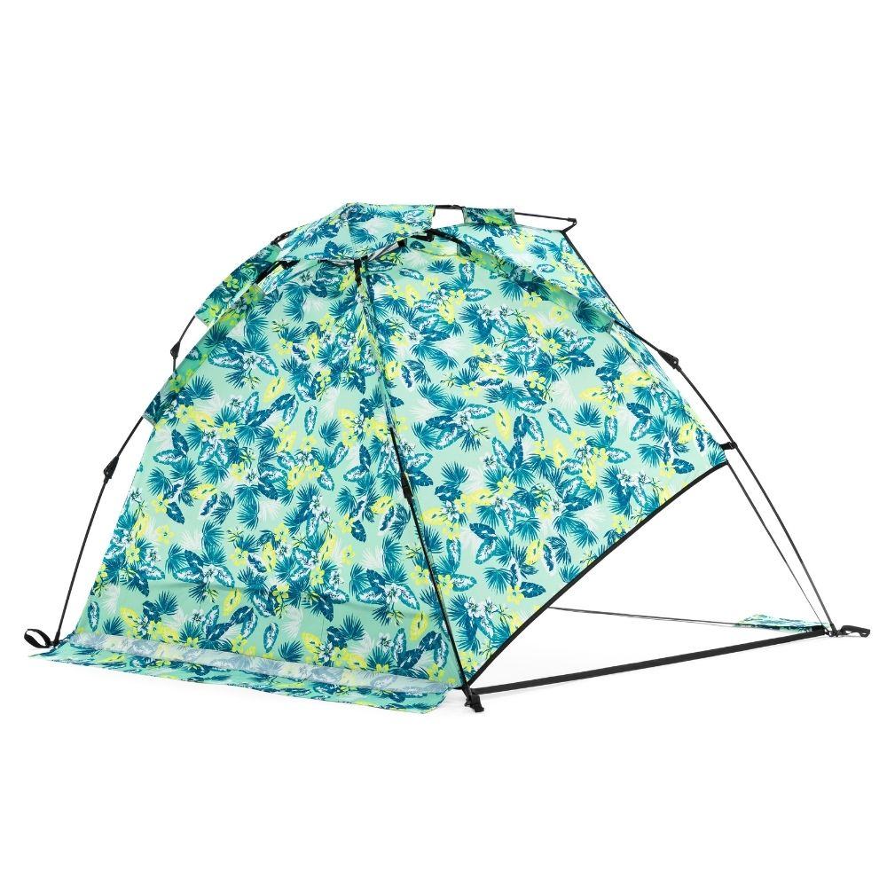 tropical leaf print airlie sun shelter from behind